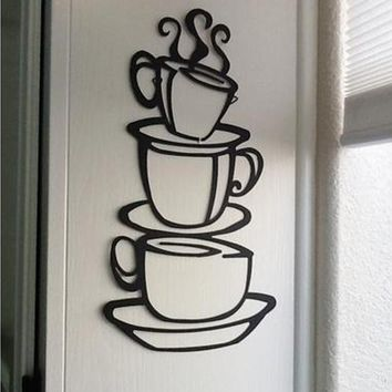 wall stickers decor Removable DIY Kitchen Coffee House Cup Decals Vinyl Wall Sticker