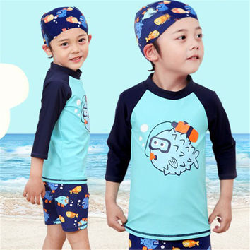 Boys Cartoon Swimsuit 2017 Korean New Style Cute Children Swimwear Plus Size Long Sleeve Sunscreen Swim Bathing Suit 41441
