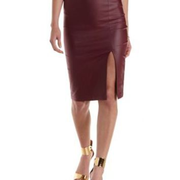 Maroon Coated Front Slit Pencil Skirt by Charlotte Russe