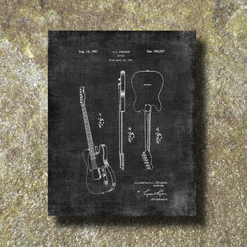 Fender Guitar Patent Print 1951 Art Illustration Printable Instant Download Poster UP041grad
