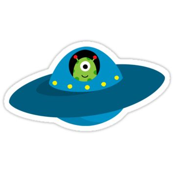 Cute alien in flying saucer type spaceship sticker by MheaDesign