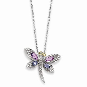 Sterling Silver & 14k Yellow Gold Amethyst Lolite And Diamond Dragonfly Necklace