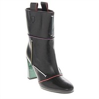 Fendi Leather Colorful Lines Ankle Boots