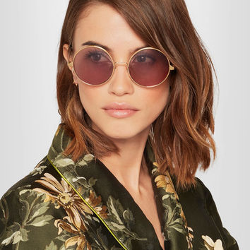 Cutler and Gross - Round-frame acetate and gold-plated sunglasses