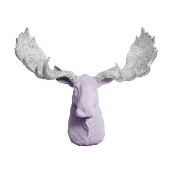 The Alberta | Moose Head | Faux Taxidermy | Lavender + Silver Glitter Antlers Resin