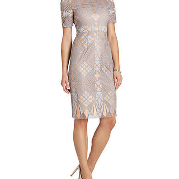 Bcbgmaxazria Samara Engineered Lace Sheath Dress