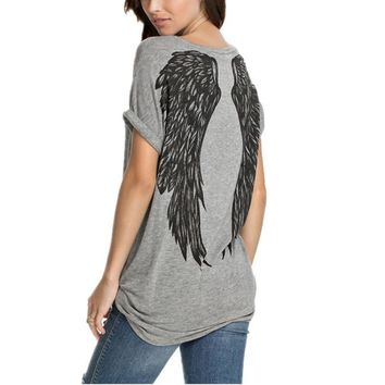 RealChicksRule™ Vintage Style Angel Wings Graphic T-Shirt