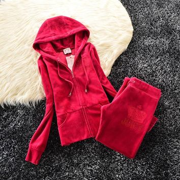 Juicy Couture Studded Simple Logo Crown Velour Tracksuit 31058 2pcs Women Suits Rose