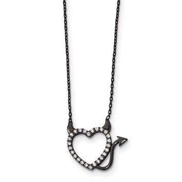 Sterling Silver Black Ruthenium Plated Devil Heart CZ 16in Necklace QG4347