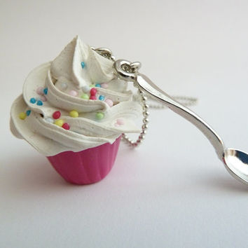 Cupcake necklace and small spoon Charm alice in wonderland with silver ball chain white frosting unique gifts holidays ,birthday girls party