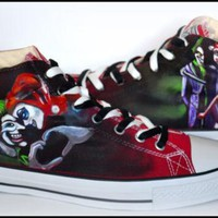 Custom Mens Shoes, Painted Shoes, Harley Quinn & Joker, Painted Chucks, Painted Conver