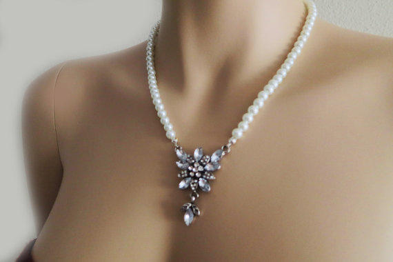 Bridal Pearl Necklace, Vintage Style Wedding Jewellry Necklace, Rhinestone Bridal Necklace, Silver Wedding Jewelry