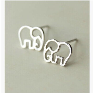 Elephant Earrings, Silver Elephant Earrings, Geometric Earrings, Boho Earrings, Boho Jewelry, Valentines Gift, Animal Earrings