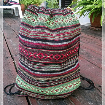 Unisex Woven Hippie Rucksack Tribal Drawstring Backpack Hipster Boho Ethnic Aztec Nepali Sling Bags Purse Bucket Beach Tote For School Party