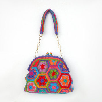 Colorful crochet bag granny square african flower framed clutch, kelly bag,  satchel purse vintage style boho