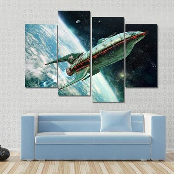 Alien Space Shuttle Moving Away From Earth Multi Panel Canvas Wall Art