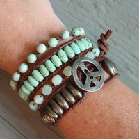 Rustic Seafoam  distressed brown leather & semi by slashKnots
