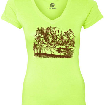 Alice in Wonderland - Mad Hatters Tea Party (Brown) Women's Short-Sleeve V-Neck T-Shirt