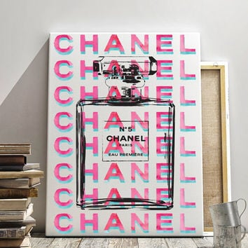 24x36 large Chanel poster,digital file, instant download, coco chanel, chanel no5 canvas, brightchanel, teal, hot pink, watercolour, no5 art