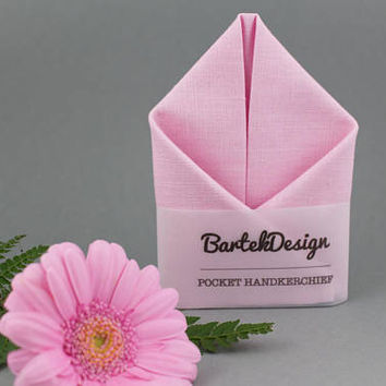 Soft Pink Pocket Square Blush Pocket Square Pink Handkerchief Pink Gift Rose Pocket Square Linen Handkerchief Linen Pocket Square Pinky
