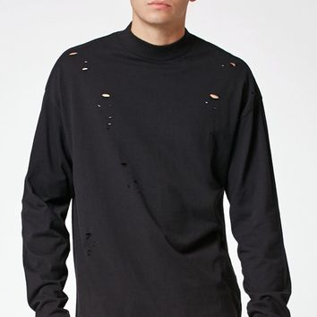 Yuta Destroyed Long Sleeve Mock Neck Relaxed T-Shirt