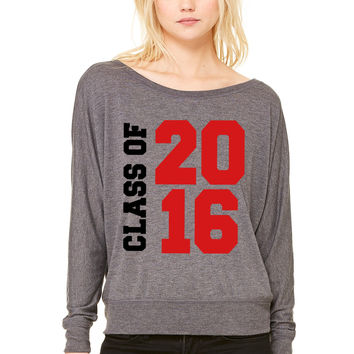 Class of 2016 WOMEN'S FLOWY LONG SLEEVE OFF SHOULDER TEE