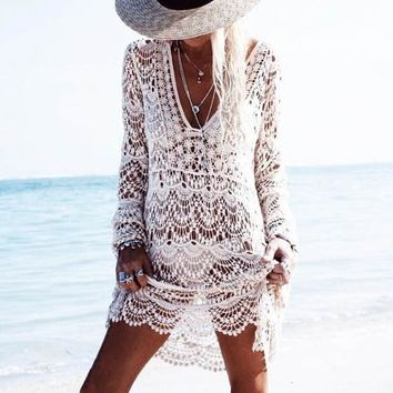 White Floral Lace Cut Out One-shoulder Beach Midi Dress