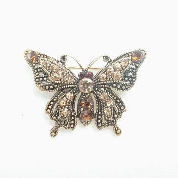 Brooch - Silver Butterfly Antique style