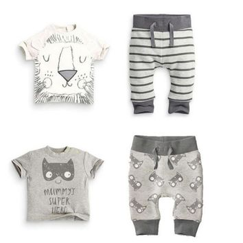 2018 Summer Style Baby Boy Clothing Sets Cotton little Monsters and lions With Short sleeves 2 Pcs Newborn Toddler Baby Clothes
