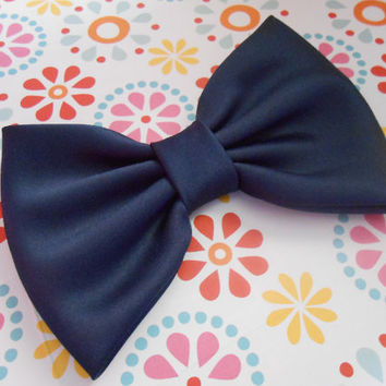 Navy Satin Fabric Hair Bow Girls Hairbow Big by TitasHidingPlace