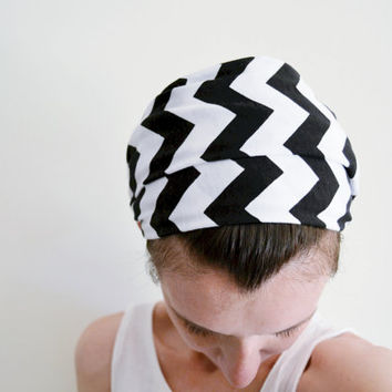 Black and White Chevron Head Scarf - Hair Wrap - Headband