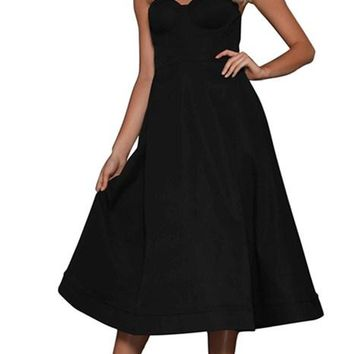 Sexy Cupped Strapless Midi Cocktail Party Little Black Dresses
