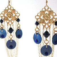 Gold Chandelier Earrings, Dark Blue Shell Chandelier Earrings, Gold Filigree Fashion Earrings