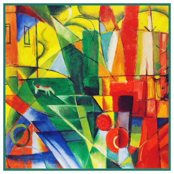 German Landscape with House Dog Cows by Expressionist Artis Franz Marc Counted Cross Stitch or Counted Needlepoint Pattern