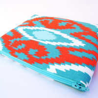 Light blue and #koi orange tribal print, aztec, sherpa #cosmetic #case, #makeup bag, #toiletry #tote