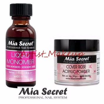Mia Secret Acrylic Nail Powder Cover Rose + Liquid Monomer 1 oz Set - USA