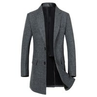 Autumn Long Men Coat Wool Excellent Elegant Long Trench Coat
