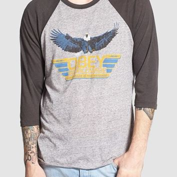 Men's Obey 'Worldwide Message' Raglan Baseball T-Shirt