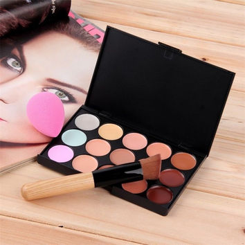 2017 Hot New New 15 Colors Cream Makeup Set Concealer Palette Water Sponge Puff Powder Brush Free Shipping