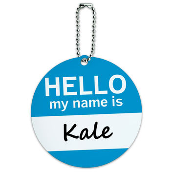 Kale Hello My Name Is Round ID Card Luggage Tag