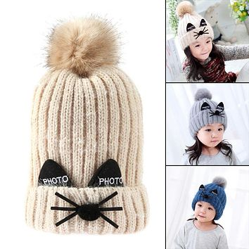 Winter Baby Kids Knitted Hat Warm Double Layer Hairball Pom Pom Cap Design Cute Cat Cartoon Children Crochet Hat Fur Caps