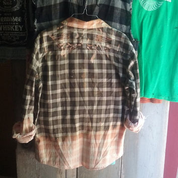 Bleached Ombre Thin Flannel Shirt with Bleached Angel Wings Grunge Retro Skater Rocker Hippie Hipster Biker Size Large