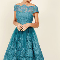 Chi Chi London Exquisite Elegance Lace Dress in Lake