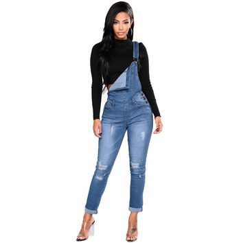 Women Denim Overalls Ripped Stretch Dungarees High Waist Long Jeans Pencil Pants Rompers New Jumpsuit Blue Jeans Jumpsuits