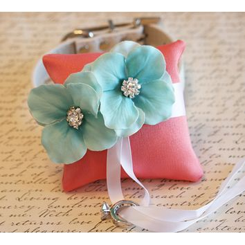 Coral and Aqua Ring Pillow collar, Dog Ring Bearer