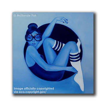 Thought Bubbles I -gallery stretched canvas, blue painting by McKenzie Fisk - Large Wall art