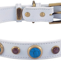 White Leather Dog Collar with Faceted Turquoise & Cat Eye Cabochons