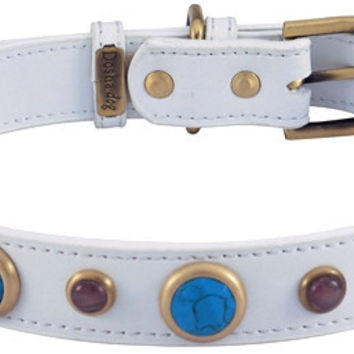 White Leather Dog Collar with Faceted Turquoise & Gemstone Cabochons