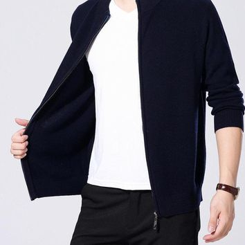 Cardigan Merino Wool Sweater Men Winter Christmas Thick Warm Turtleneck Cardigan Men Cashmere Sweater coat