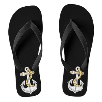 Gold Nautical Anchor Flip Flops